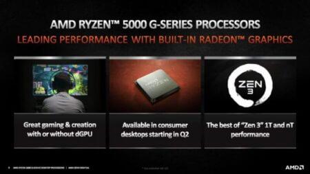 AMD Ryzen 5000G Cezanne デスクトップAPUのRyzen 7 5700G 8コア、Ryzen 5 5600G 6コア、Ryzen 3 5300G4コア公式発表