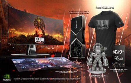 NVIDIAとBethesdaがDOOMEternal GeForce RTX3080Ti Demon Slayerバンドルを発表(GPU、ゲームコード、その他のグッズを添付)